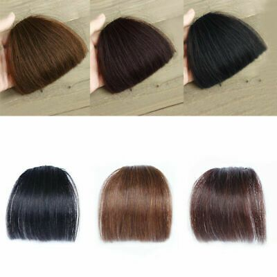 (Ad) 100% Real Human Hair Neat Thick/Thin Air Bangs Clip In Fringe Front Fashion
