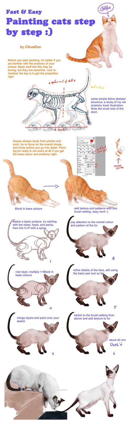 Painting cats tutorial by *CitrusGun on deviantART