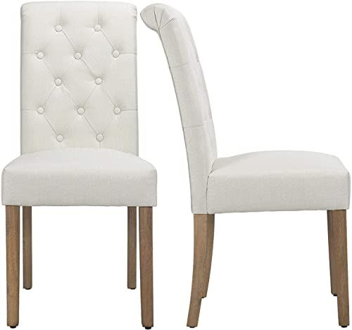 Buy Yaheetech Solid Wood Dining Chairs Button Tufted Parsons Diner Chair Upholstered Fabric Dining Room Chairs Kitchen Chairs Set 2 Beige Online Topfashionbe In 2020 Fabric Dining Room Chairs Solid