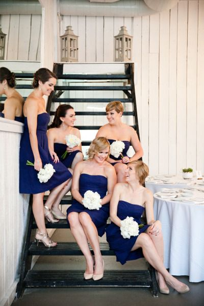 navy blue bridesmaid dresses with white hydrangea