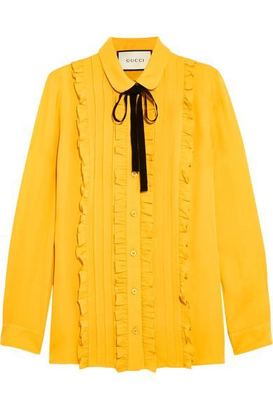 Gucci - Ruffled Silk Shirt - Mustard - IT40