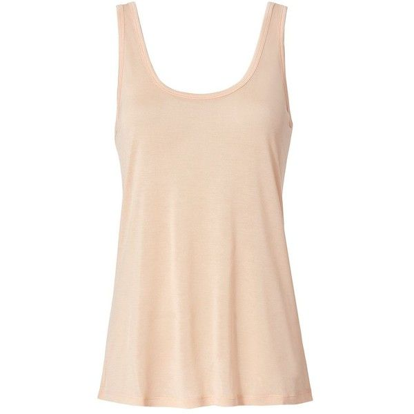 L'Agence Women's New Quartz Perfect Tank ($85) ❤ liked on Polyvore featuring tops, light pink, beige tank top, strappy tank, light pink tank top, beige top and scoopneck top