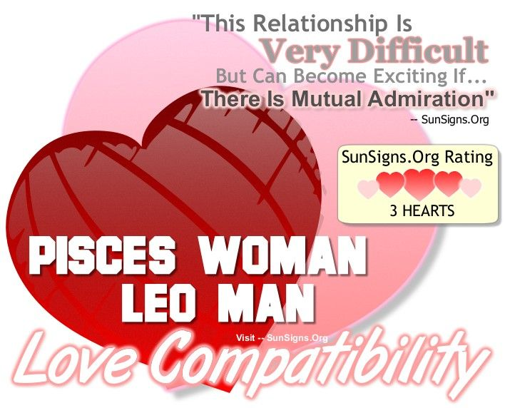 If the Pisces Leo match can find a compromise, their devotion to each other is unbreakable.