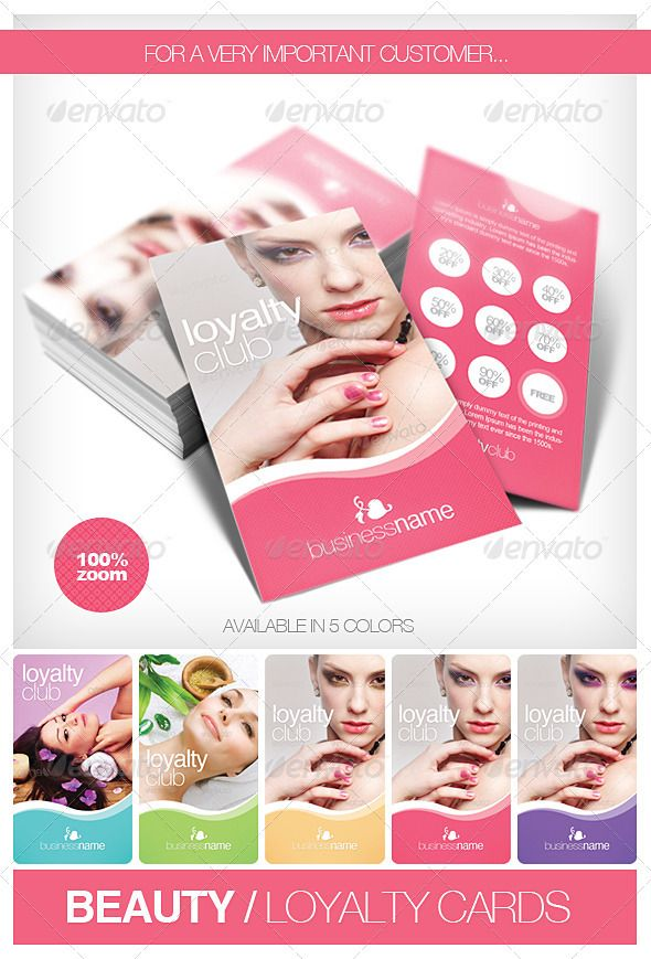"""Beauty - Fashion Loyalty Cards  salon, spa, store or other similar business. Just change the text, photo and logo. Details  1 PSD – 5 Color options  300DPI, CMYK ,   2"""" x 3,5""""  Bleed lines and guides included and enabled. easy to use and modify (colors, font etc.) Well organized . Font information included.      Created: 26February12 GraphicsFilesIncluded: PhotoshopPSD  Layered: Yes MinimumAdobeCSVersion: CS PrintDimensions: 2x3.5"""