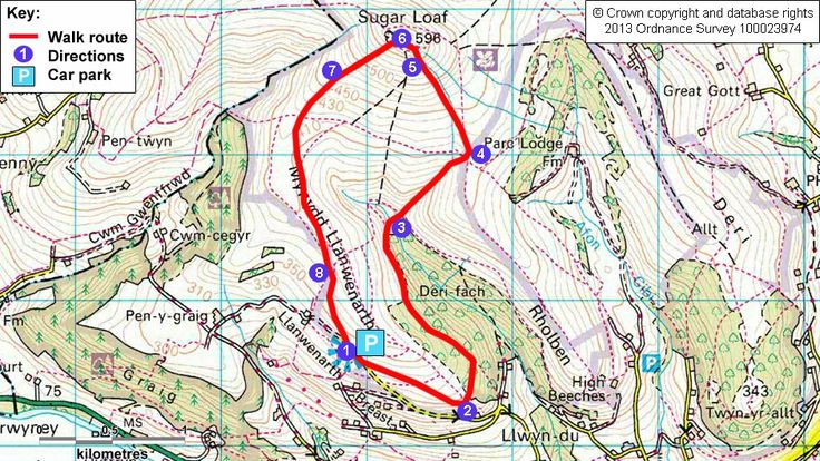 Map route for Sugarloaf circuit walk