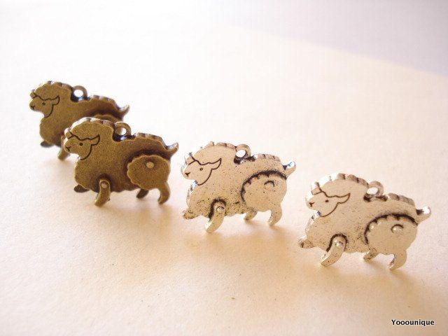 4 3D Sheep Silver/Bronze Charm Pendant Finding 18x21mm SB665 by yooounique on Etsy