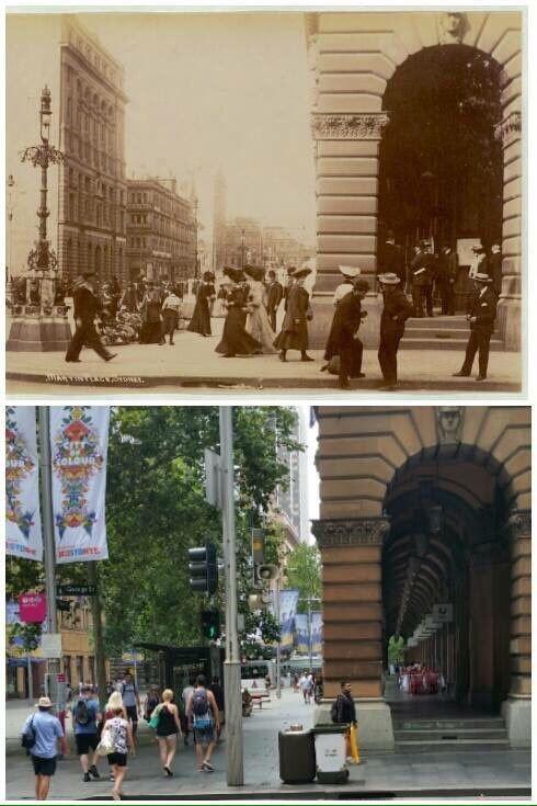 Looking across to Martin Place and the GPO from George Street c1905 and 2016 [1905-State Library NSW>2016-Allan Hawley. By Allan Hawley]
