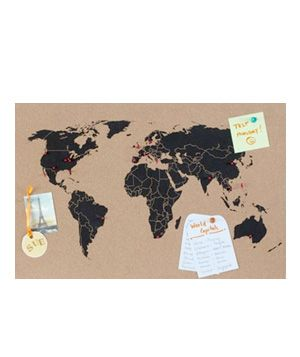 Where in the World Is That? Bulletin Board. Part geography lesson, part smart organizing solution. This cork bulletin board will keep paperwork in order as you chart your travels around the world.