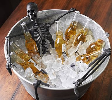You can buy the tub from target and insert a posable skeleton. Make it a party game and let others pose the skeleton as they grab drinks #halloweenpartdecorcheap