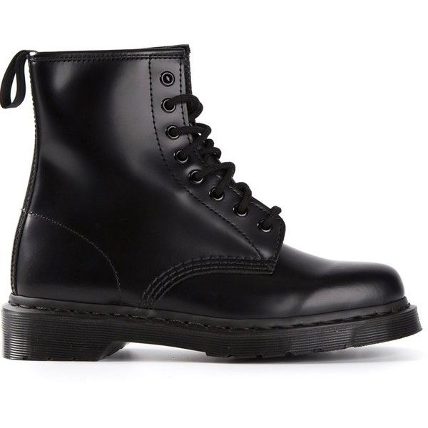Dr. Martens 1460 Mono Lace-Up Boots (580 BRL) ❤ liked on Polyvore featuring shoes, boots, ankle booties, botas, sapatos, black, black leather booties, black leather ankle booties, laced booties and leather lace up boots