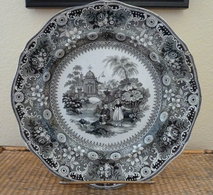 Details About Antique Quot Chinese Pastime Quot Plate In Black