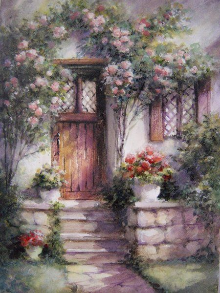 Cottage With Pink Roses George Bjorkland