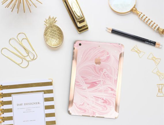 Platinum Edition Pink Marble Swirl with Rose Gold/Copper Detailing Vinyl Skin for the iPad Air 2, iPad mini 4 , iPad Pro