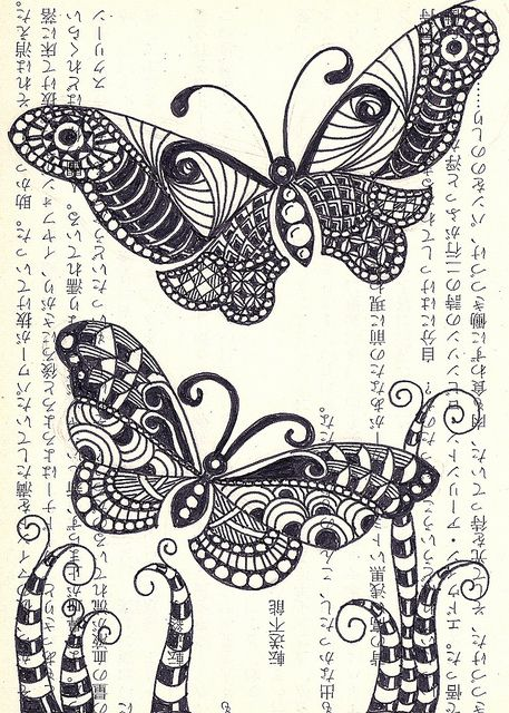 #doodle #zentangle #zendoodle- this would be great on book text with watercolour butterflies and plants plus felt tip pen.