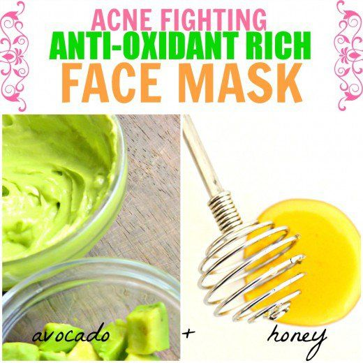 This anti-oxidant rich face mask with avocado and honey is great for acne curing and prevention.