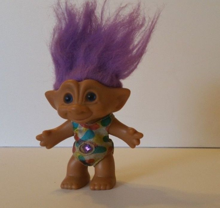 Ace Novelty troll doll with blue eyes and purple jewel #AceNovelty #Dolls