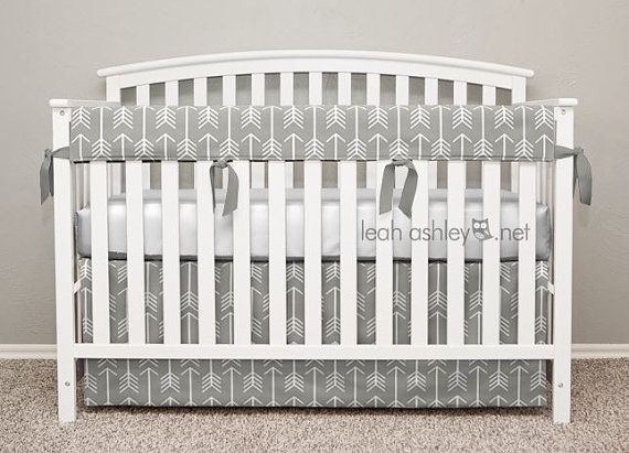 Crib Bedding Set - Crib Skirt and Teething Crib Rail Cover - Gray Arrows - TS0a
