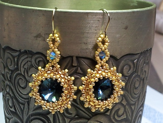 Swarovski sapphire dark blue earrings by SandyYuDesign, $30.00