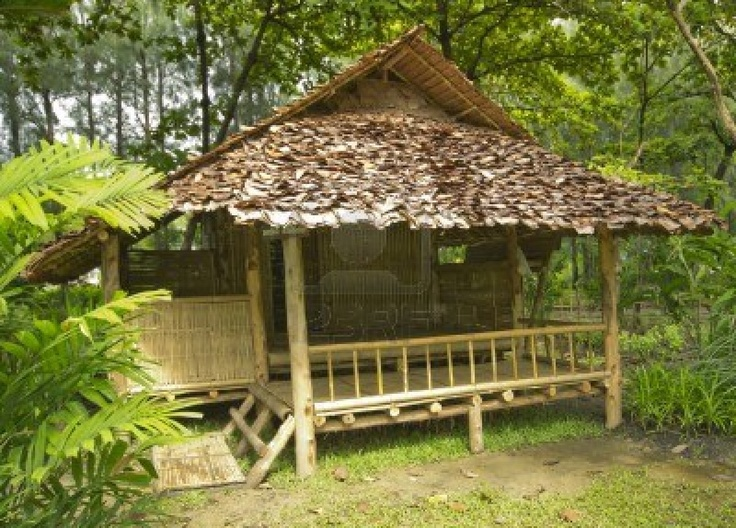 Bamboo hut in jungle thai homes bamboo pinterest for Small hut plans