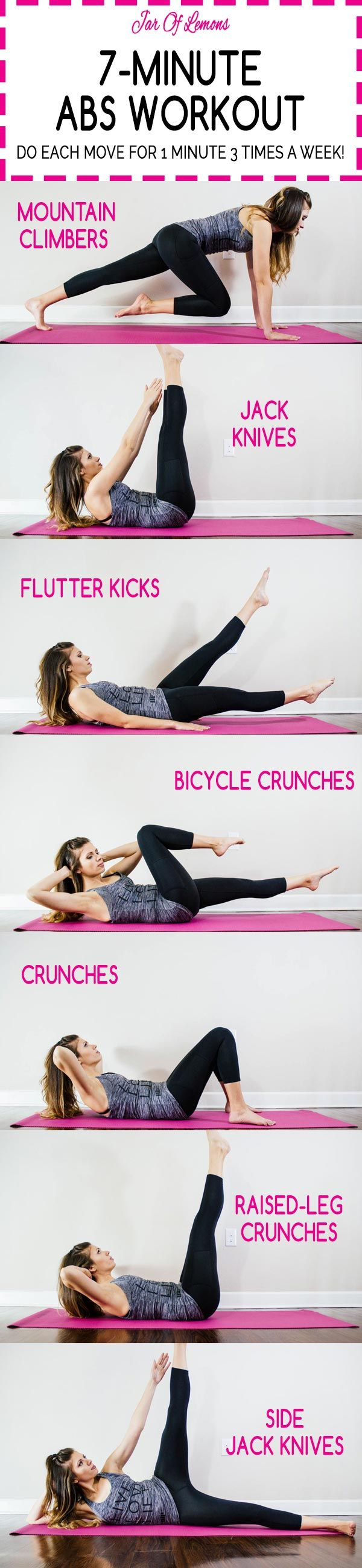 7-Minute Abs Workout! Do each move for 1 minute. 7 minutes, just 3 times a week!