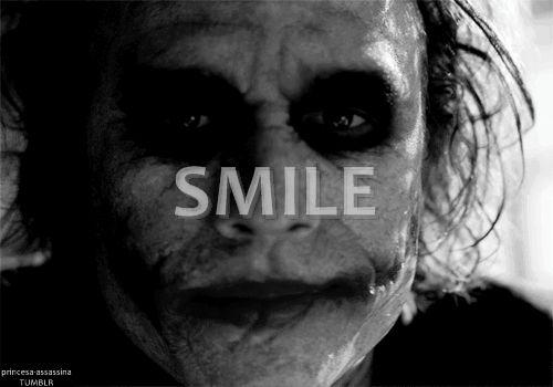 heath ledger joker smile gif