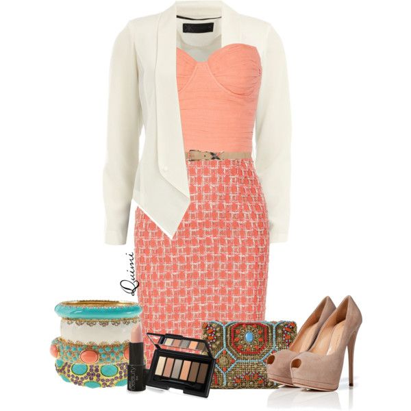 """Coral Dress & Turquoise Accessories"" by chicstreet-831 on Polyvore"