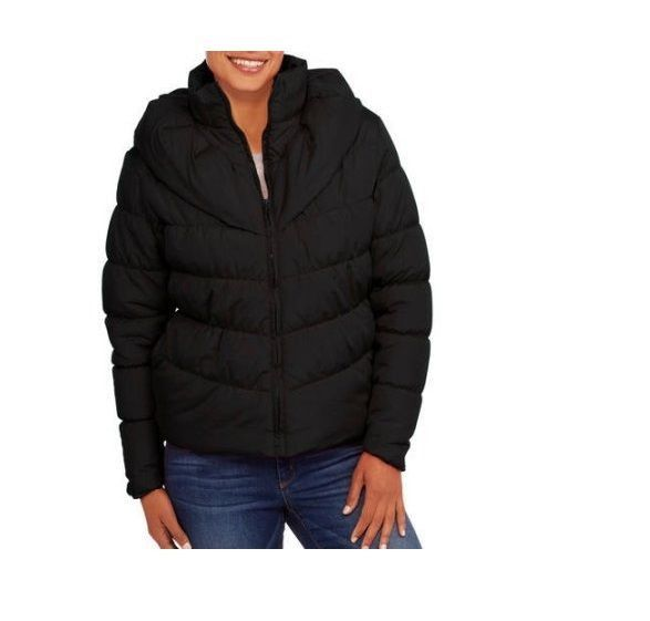 Climate Concepts Women's Puffer Coat, Black Large