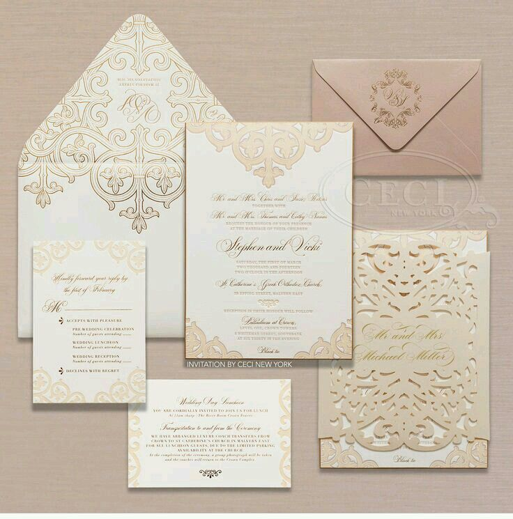 Lace and die cut invitations gold 7