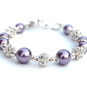 Pulsera de perlas lavanda, joyería Bling, brillantes diamantes de imitación pulsera, regalos de la dama de honor, fiesta nupcial