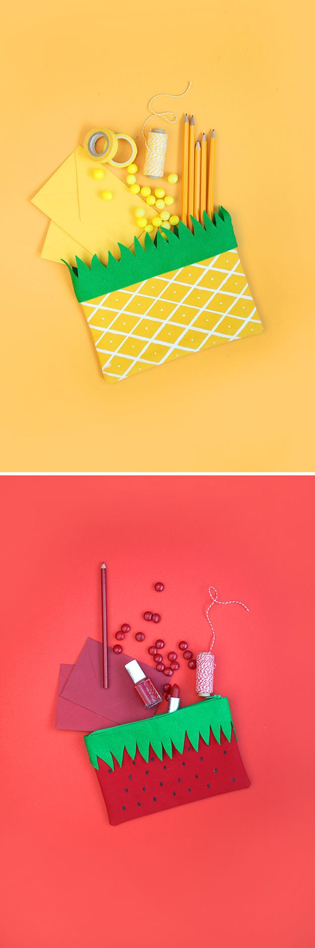 Check out 14 DIY Back to School Supplies For All Ages | DIY Fruit Pencil Pouches by DIY Ready at http://diyready.com/diy-back-to-school-supplies/