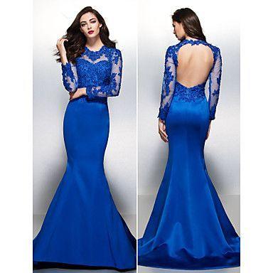Fiesta formal Vestido - Azul Real Corte Sirena Cola Corte - Escote Joya Encaje/Satén – USD $ 139.99: