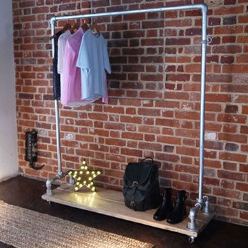 Off The Rails Designs - Shop - Railings - Industrial Clothes Rail with Wood Base