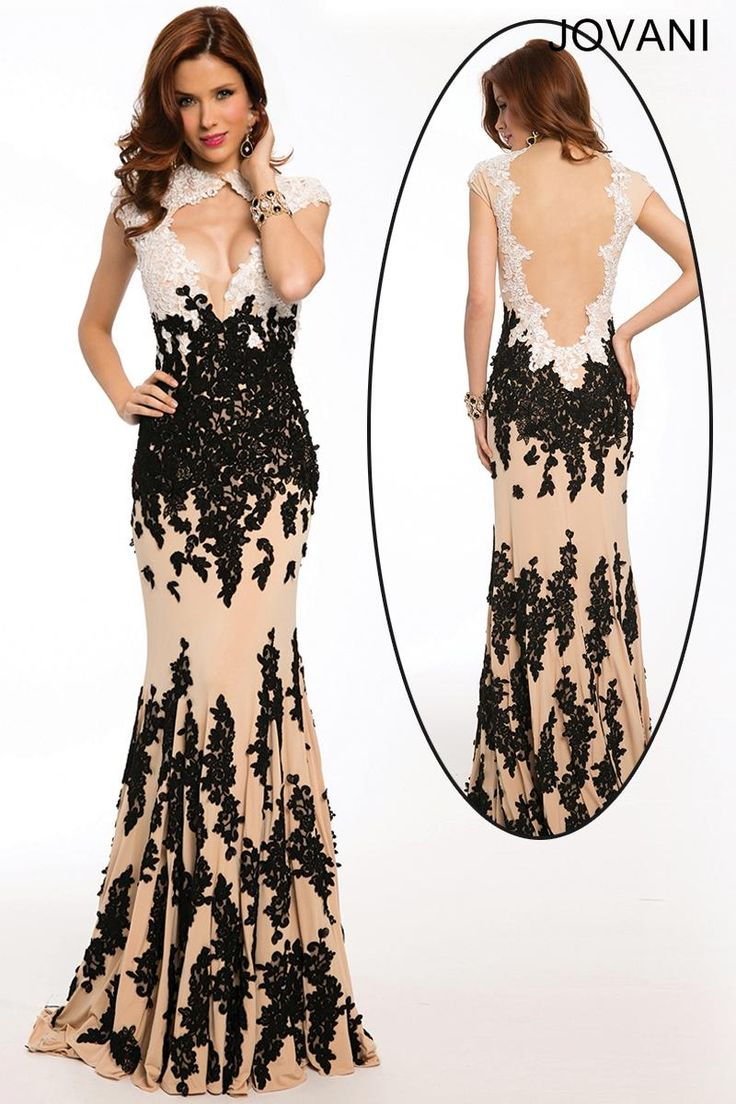 Black and white mermaid prom dress world dresses - Two Toned Lace Appliques Drench The Column Silhouette Of Jovani 3048 Prom Dress Making A Striking Contrast Against The Nude Fabric