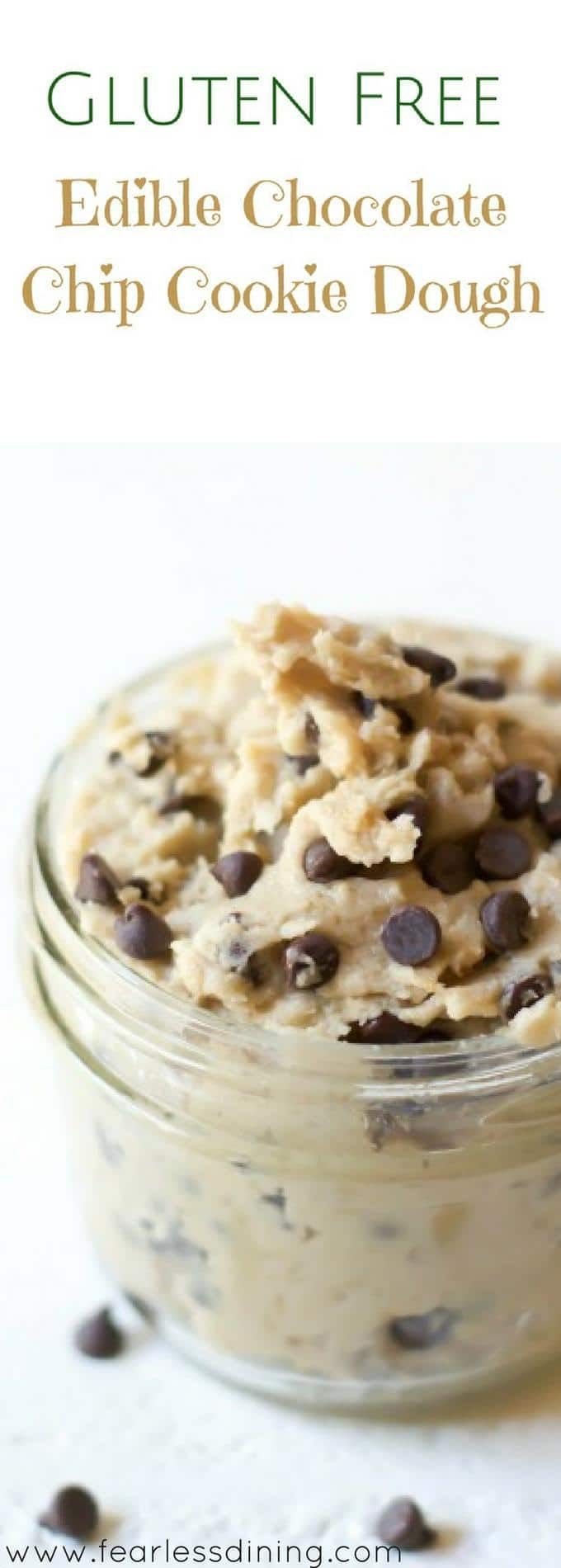Dip in a spoon! If you love cookie dough, this Gluten Free Edible Cookie Dough is for you. Easy to make in minutes, you can use it as frosting too. How to make edible gluten free cookie dough Recipe at http://www.fearlessdining.com via @fearlessdining