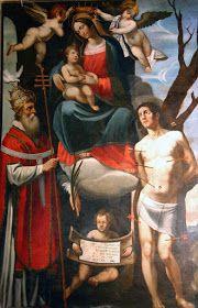 Anonyme ambito senese, Madonna col Bambino incoronata dagli angeli con san Fabiano e san Sebastiano (1620), tela, Montemerano, fraz. di Manciano, Grosseto, chiesa san Giorgio, secondo altare a destra.