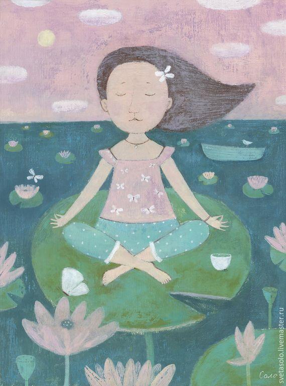 Купить Медитация - бледно-розовый, йога, лотос, лотосы, бабочки, лодка, озеро, лето, медитация