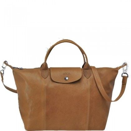 Longchamp Le Pliage Cuir Medium Handbag Natural