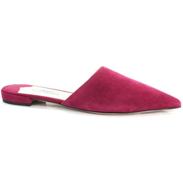 Prada Pointed Toe Fuschia Pink Suede Mule Pumps Size 37 Slide $530 ($436) ❤ liked on Polyvore featuring shoes, fuchsia shoes, suede shoes, prada shoes, prada mules and prada