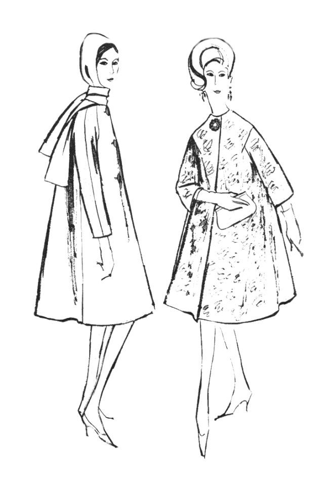 1960s Colouring-In Fashion Line Drawings for Sewing