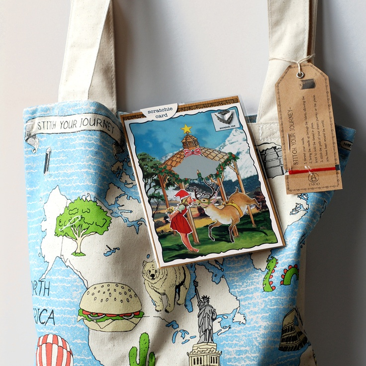 """An all in one solution to that Kris Kringle present, at a special price. A stitch your journey Tote Bag & Scratchie mistletoe gift card.  Use code """"early bird"""" on the website for an extra 20% off."""
