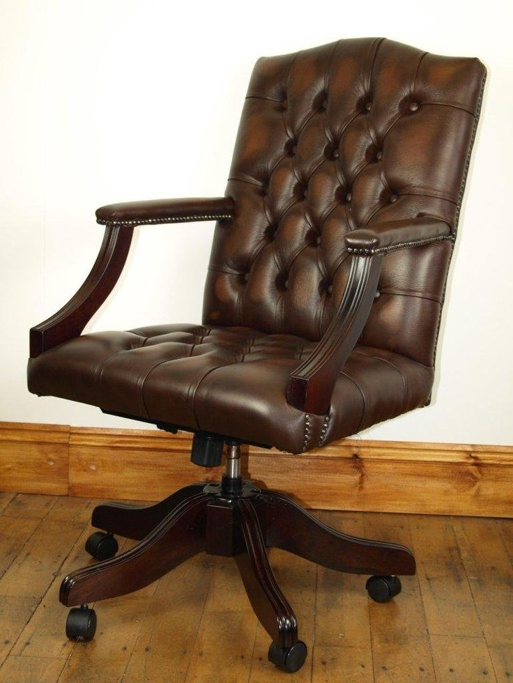 Leather Gainsborough swivel chair in Antique brown
