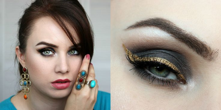 Black eyeshadow, smokey eye, gold eyeliner. Makeup look