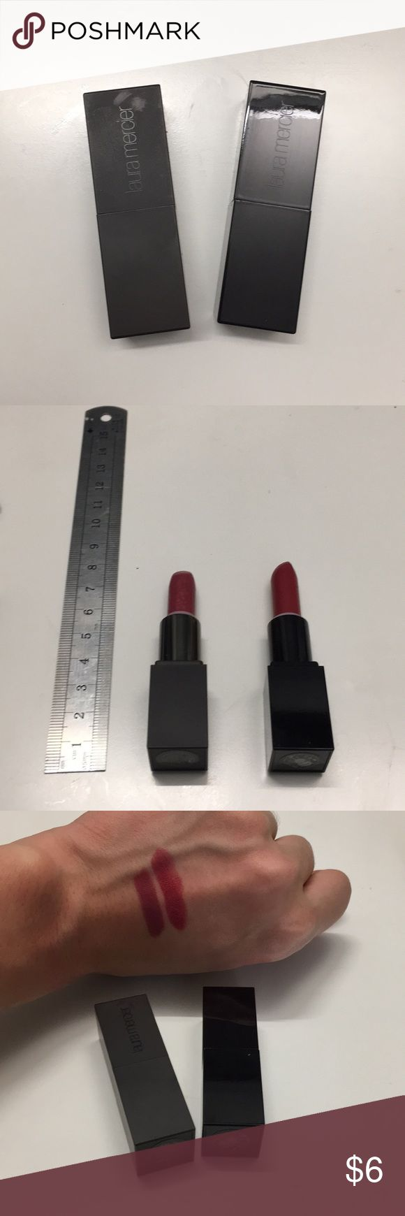 Two Laura mercier lipstick minis Laura Mercier velour lovers lip colour in DEVOTION; Laura Mercier creme smooth lip colour in Audrey; Please see the picture for how much of the product is left and the swatch on my skin (MAC NC20) laura mercier Makeup Lipstick