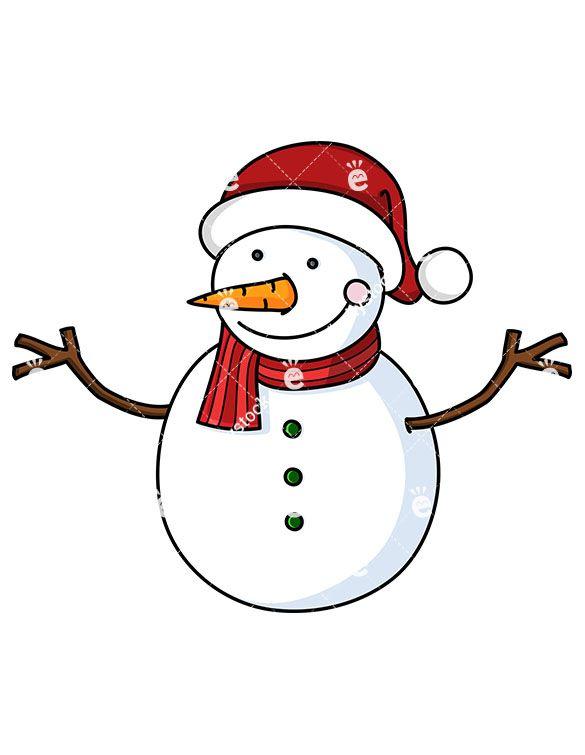 Smiling Snowman Wearing Santa Hat Cartoon Vector Clipart Friendlystock Xmas Drawing How To Draw Santa Christmas Vectors