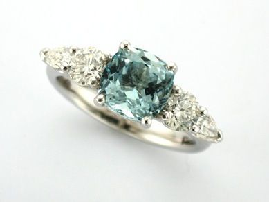 'KRISTA' --  Fabulous Engagement Ring set Cushion Cut Aquamarine  & Brilliant & Pear Shape Diamonds in our Lorraine Style Ring   Custom Made in 18ct White Gold.