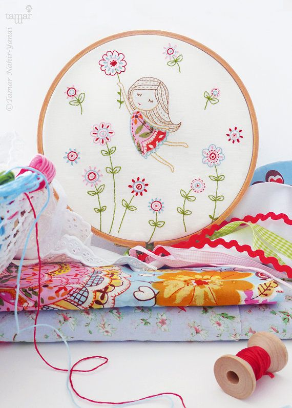 Welcome to my shop. Girl in a Red Dress Embroidery design can be appliqued to a pillow cover or a bag. It can also make an excellent wall