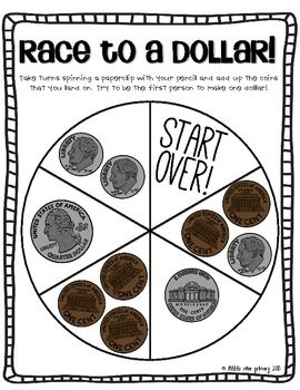 Race To A Dollar! {Counting Coins Freebie!} I think I  like this better than the Pennies and dimes version we play!!