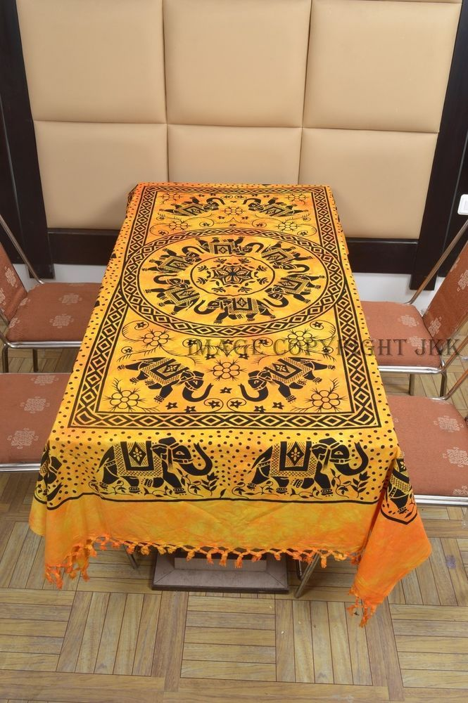 Indian Table Cover Yellow Multicolor Elephants Printed Dinning Bohemian IWUS