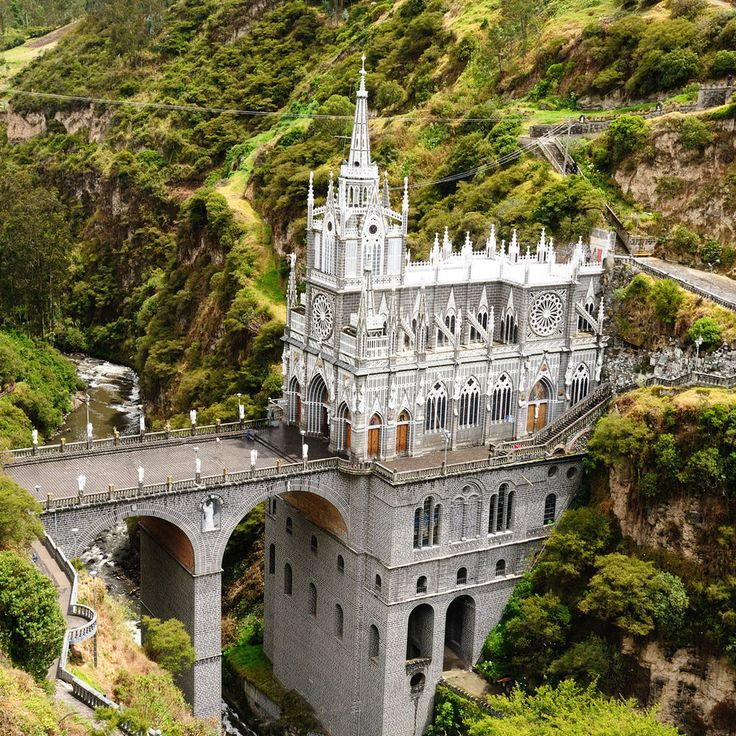 Las Lajas Sanctuary Pasto, Colombia tree outdoor grass building historic site landmark castle château bridge tourism monastery fortification ancient history Ruins unesco world heritage site traveling stone hillside