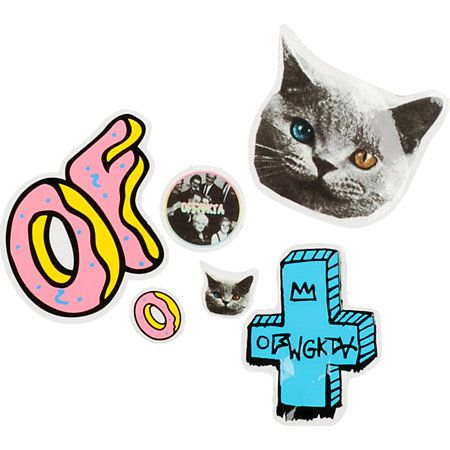 Rep the Odd Future Wolf Gang Kill Them All with an assortment of Odd Future stickers. This mixed bag of peel and stick stickers features the Odd Future Donut logo, Tron Cat, OFWGKTA acronym, and a couple little stickers too. Stick it on your skate deck, m